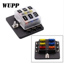 WUPP Auto 1 In 6 Out Auto Fuse Box Waterproof Blade Fuse Block Box With Led Indicator For Car Suv Bus Ship 32V PC Terminal Block недорого