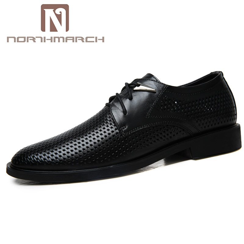 NORTHMARCH Breathable Genuine Leather Men Shoes Summer Causal Shoes Men Hole Comfortable Tenis Masculinos Men Brand Flat Shoes