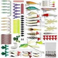 Goture Fishing Lure Kit 175pcs/Set Minnow Popper Crank Spinner Metal Spoon Lure Swivel Soft Bait Kit Fishing Tackle Box