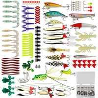 Kit Isca De Pesca Goture 175 pçs/set Minnow Popper Manivela Kit Giratório Spinner Colher De Metal Atração Isca Soft Caixa De Equipamento De Pesca