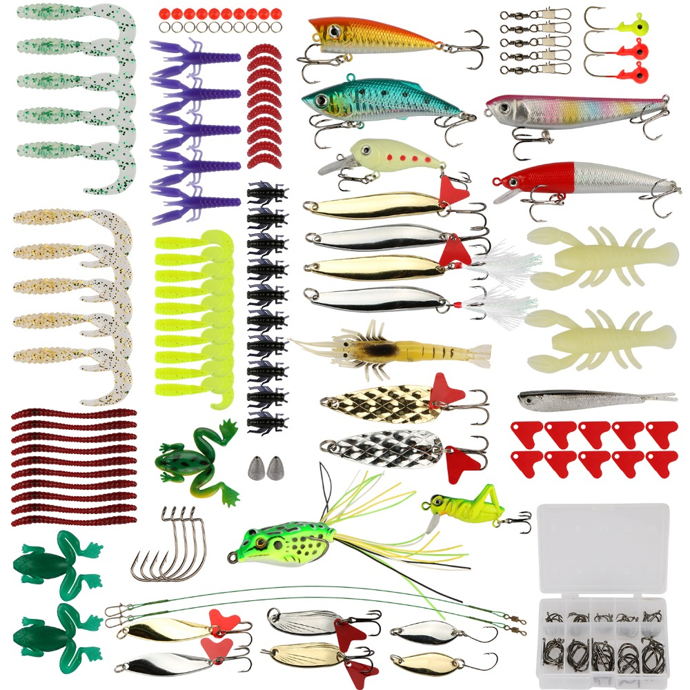 Pisfun Fishing <font><b>Lure</b></font> Kit 175pcs/Set Minnow Popper Crank Spinner Metal Spoon <font><b>Lure</b></font> Swivel Soft Bait Kit Fishing Tackle Box