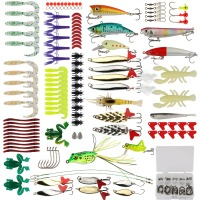Pisfun Fishing Lure Kit 175pcs Set Minnow Popper Crank Spinner Metal Lure Spoon Swivel Soft Bait