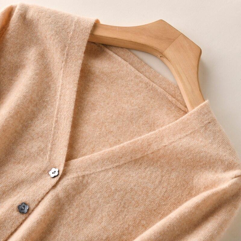 Image 5 - BELIARST 2019 早春 New ピュアウールカーディガン女性 V ネックスリムショート段落本物のカシミヤニットセーターコート    グループ上の レディース衣服 からの カーディガン の中
