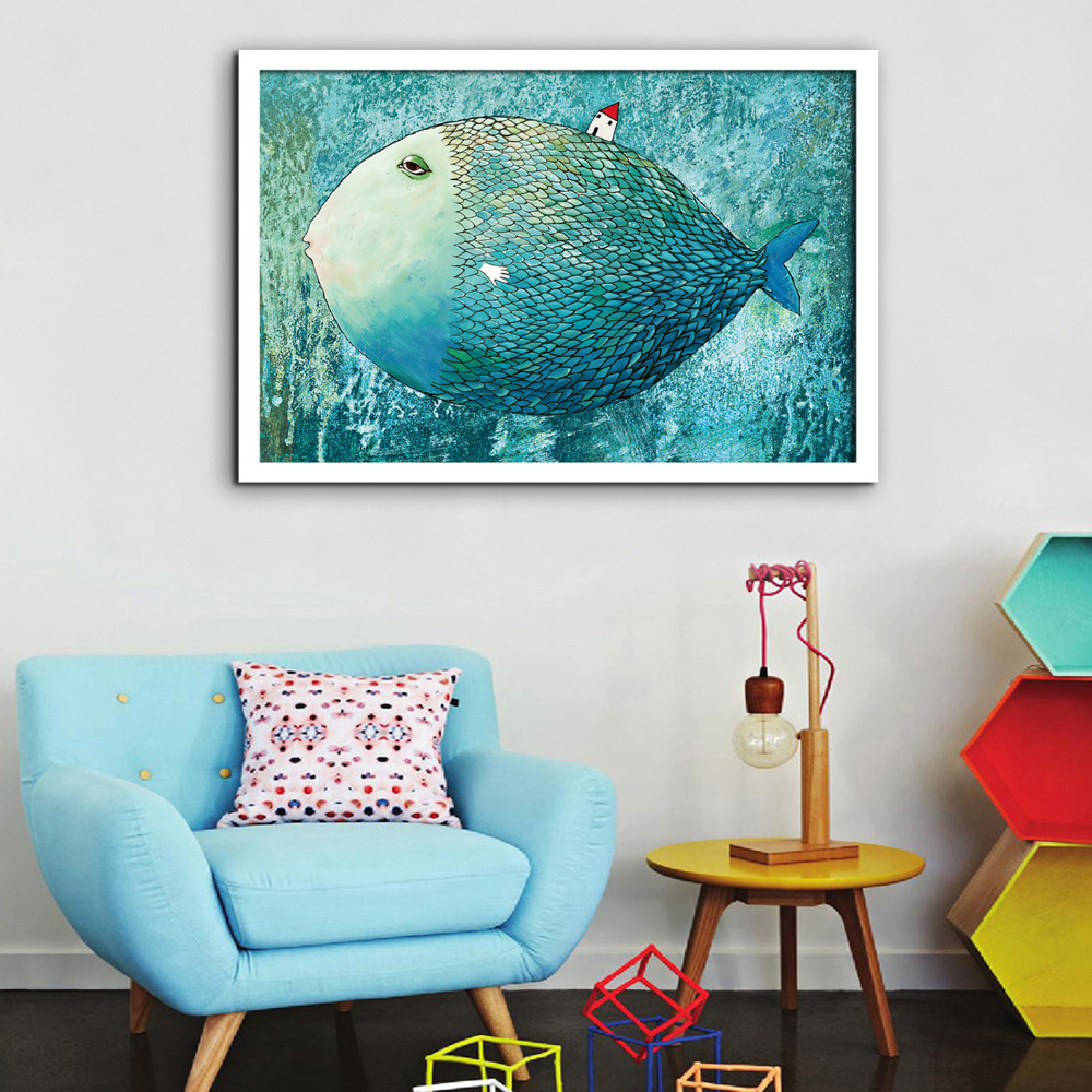 Online buy wholesale big fish art from china big fish art for Buy home decor online cheap