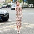 Summer Women's Paillette Gauze Top Fashion Pink Beading Dress Slim Waist Elegant Sweet Embroidery Mesh Dress High Quality