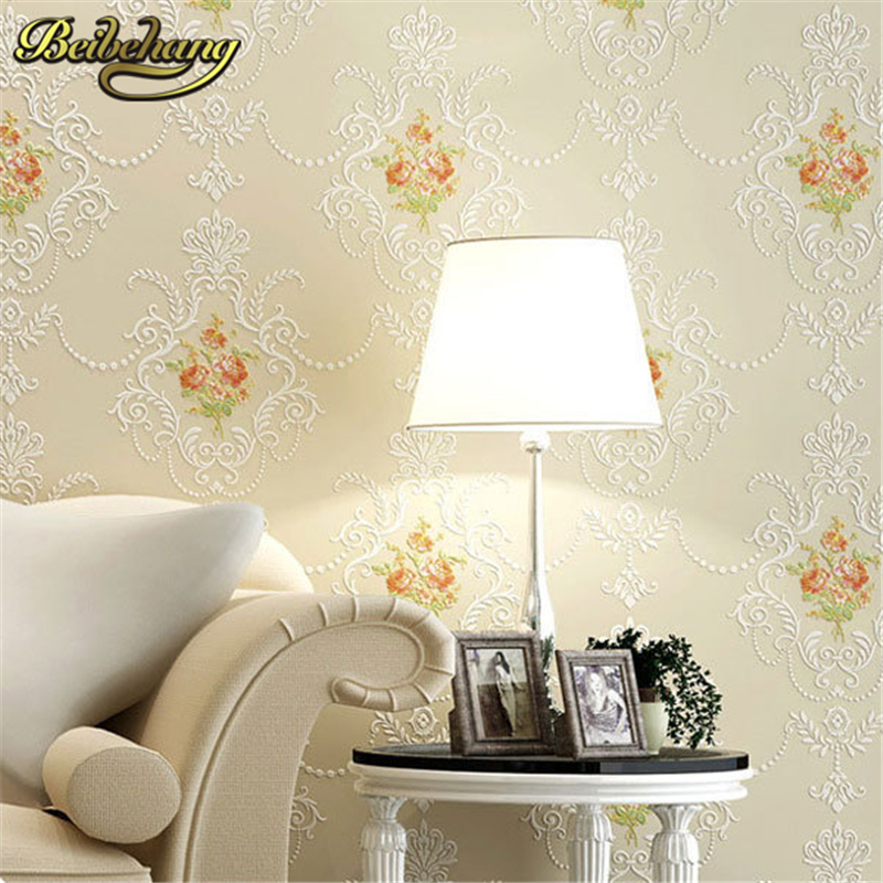 все цены на beibehang papel parede Pastoral Flowers Wallpaper roll Non-woven Wall papers Stereo Floral Papel Pintado Mural Papel Parede Wall онлайн