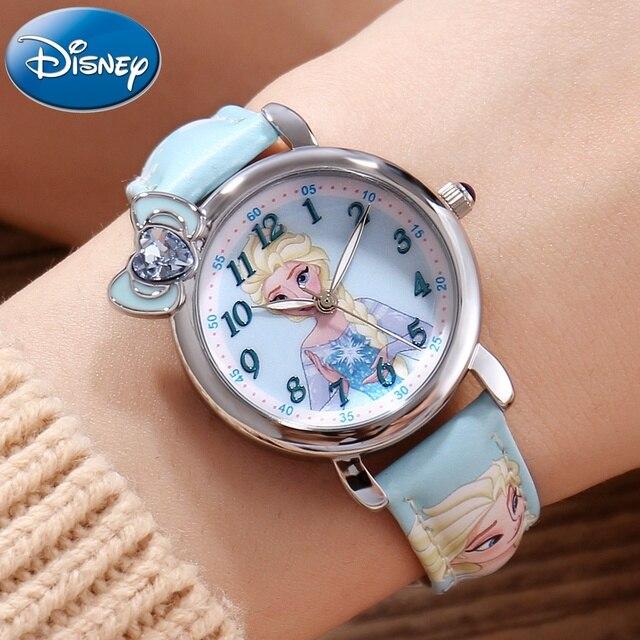 Dondurulmuş Elsa prenses kız Cuties kelebek ilmek izle öğrenci deri kuvars güzel kol saati Disney çocuk saati hediye kutusu