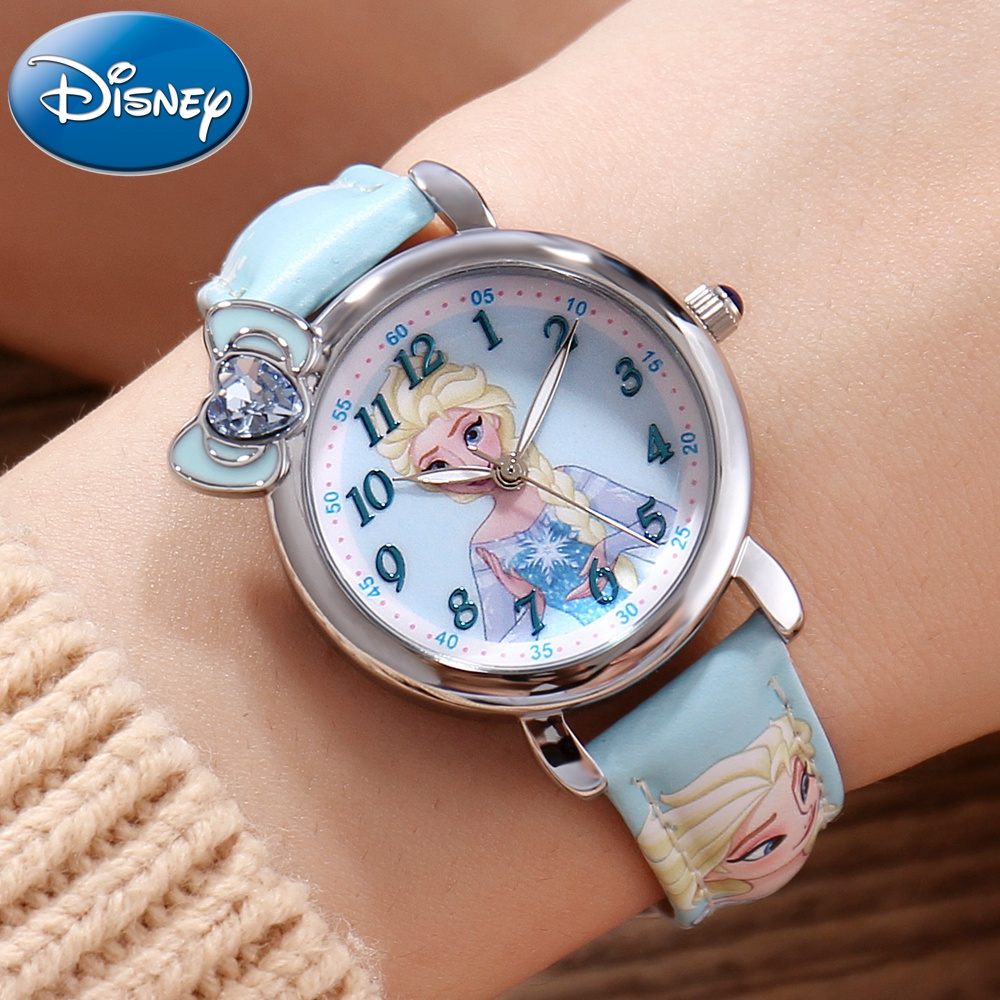 Frozen Elsa Princess Girl Cuties Butterfly Bowknot Watch Student Leather Quartz Beautiful Wristwatch Disney Child Clock Gift Box