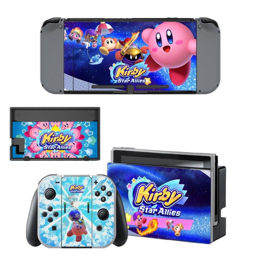 Купить с кэшбэком Nintend Switch Decals Vinyl Skins Sticker For Nintendo Switch Console and Controller Skin Set - For Kirby Star Allies