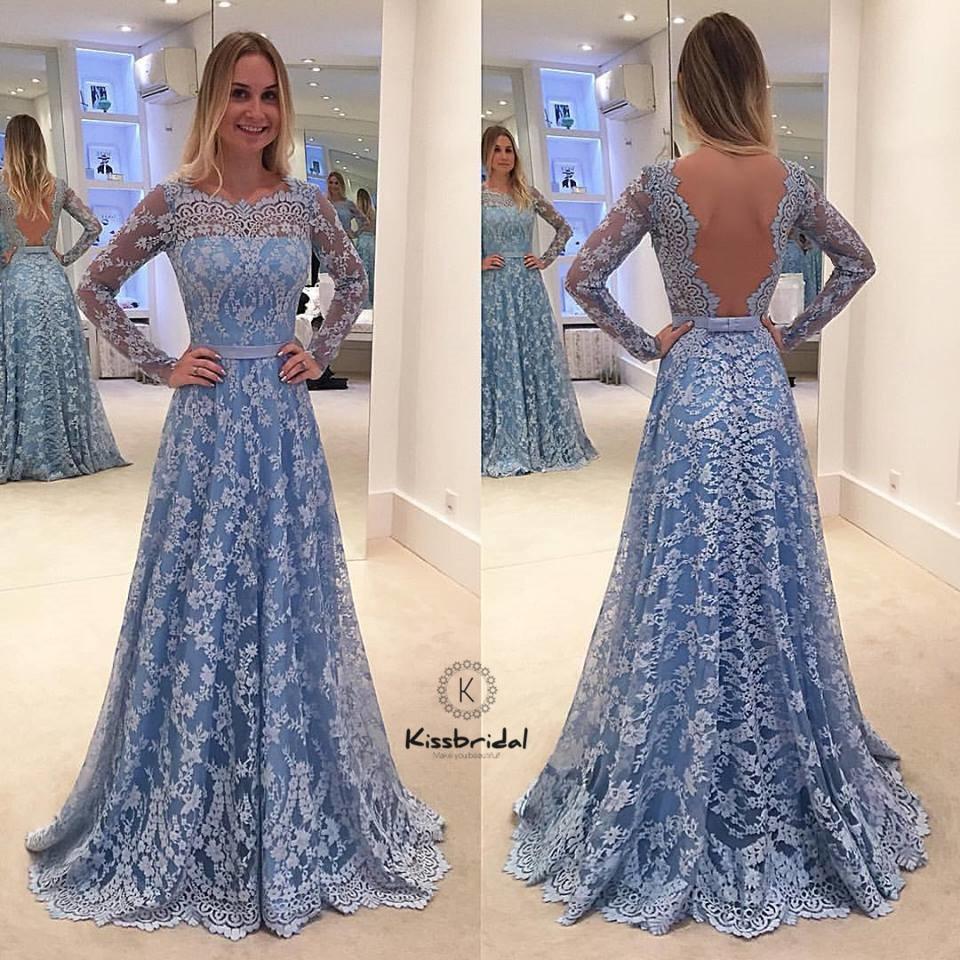 Elegant Lace   Evening     Dress   Long Sleeve Backless A-line Blue Prom Party Wear vestido de festa longo