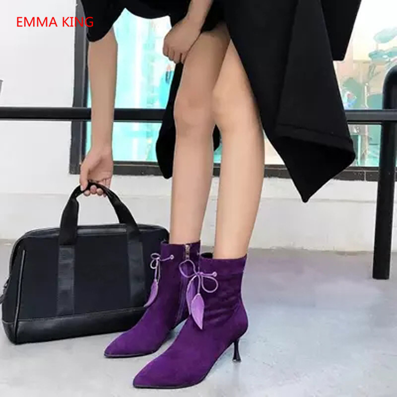 Luxury Suede Lace Up Women's Ankle Boots Pointed Toe Sexy Black Purple High Heels Winter Ladies Shoes Runway Woman Martin Boots - 2