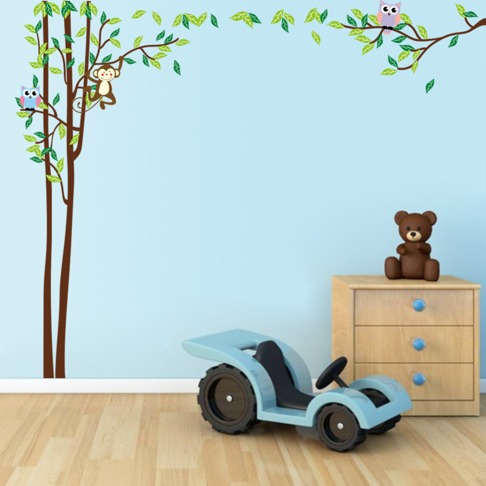 monkey owl tree wall stickers baby nursery decor decalchina mainland - Monkey Bedroom Decor