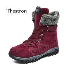 hot deal buy thestron women boots mid-calf boots casual female shoes 2018 winter fur warm ladies fashion boots black gray red purple shoes