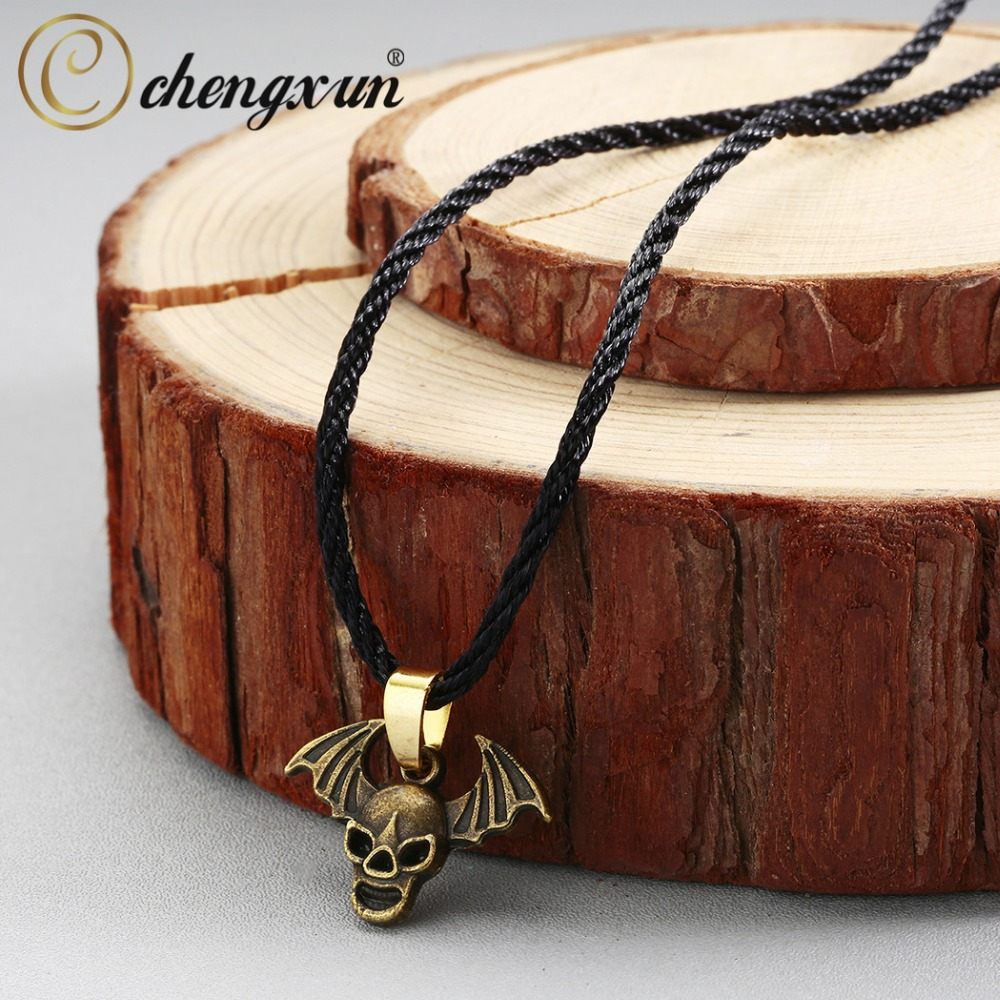 CHENGXUN Vintage Maxi Collier Men Jewelry Collares Bronze Skull Bat Wing Pendant Necklace Black Rope Chain Fashion Jewelry image