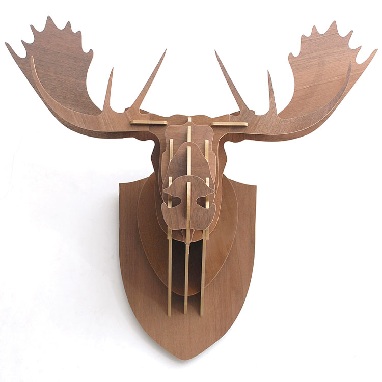 3d Puzzle Wooden Diy Creative Moose Head Wall Mounted Wood