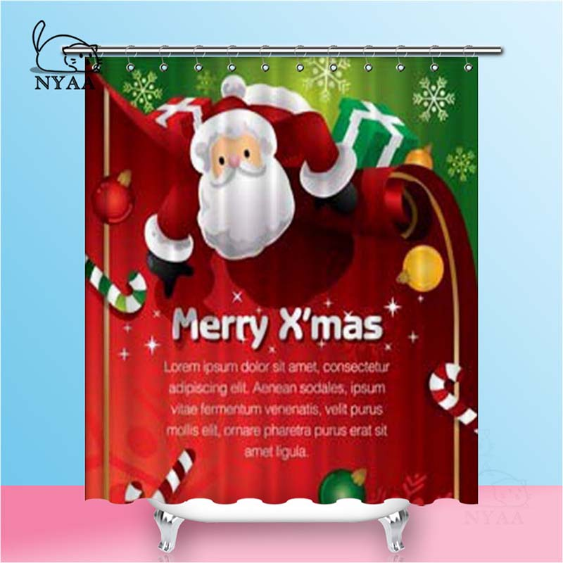 Nyaa Santa Shower Curtains Present Template Waterproof Polyester Fabric Bathroom Curtains For Home Decor