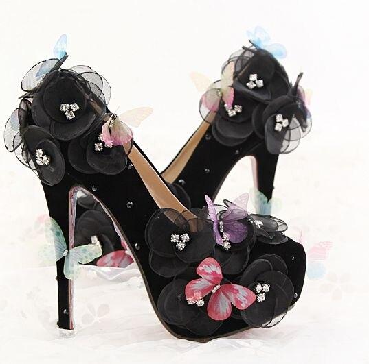 Black color nighclub shoes for woman extra high 14cm 12cm heels flowers organza black wedding party