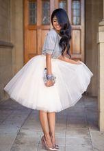 2016 Мода Нежный 5 Слоя Женщины Колен Лето Взрослых Туту Тюль Юбки Для Свадьбы Плюс Размер Vestidos