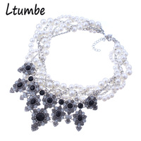 Ltumbe New Chunky Multilayer Round Simulated Pearl Necklaces Pendants Gem Stone Bib Collar Statement Necklaces For