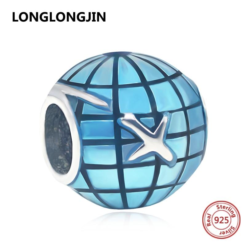 925 Sterling Silver Beads Airplane Around The World Blue Globe Charms Fits European Pandora Bracelets DIY Fine Jewelry Making
