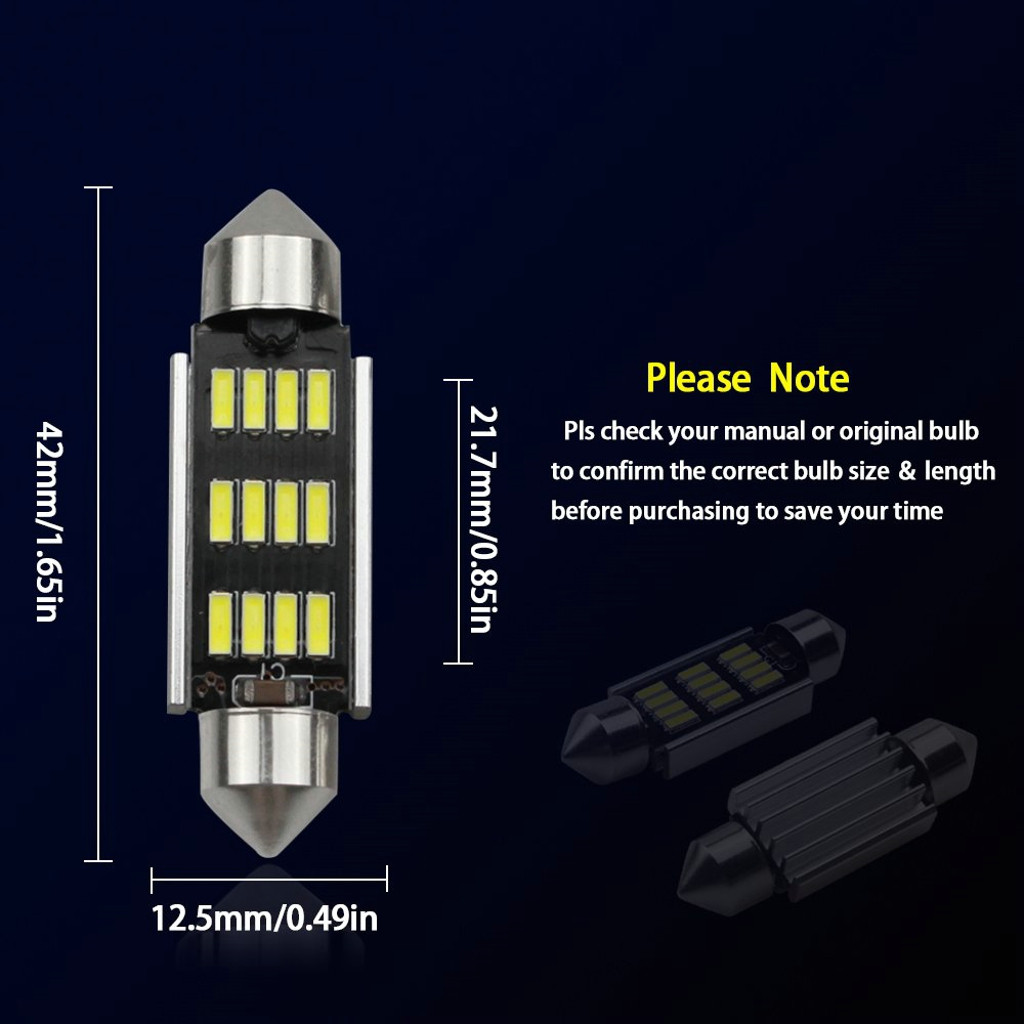 Image 5 - 2Pcs 42mm LED Light 6500K White SMD Car Dome Double Tip Reading Lamp Roof Bulb LED Lamps For Cars Map Dome Lights-in Signal Lamp from Automobiles & Motorcycles