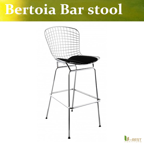 Free shipping U-BEST replica bertoia bar stool unupholstered,wire counter stool Chromed steel shell and Leatherette cushion