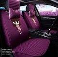 2016 auto mujeres de la fuente cubierta de asiento de coche cojín cómodo 5 unidades/set estilo de seda femenino de la felpa del asiento de coche de lino cubre colchón