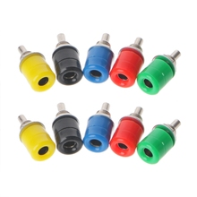 цена на 10 Pcs 5 Color 4mm Female Banana Plug Socket Connector Binding Post Audio Terminal