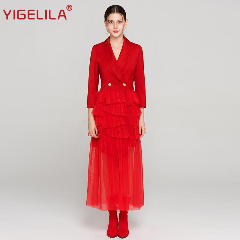 YIGELILA Fashion Week Women Red Long Party Dress Autumn Turn down Collar Three Quarter Sleeve Full