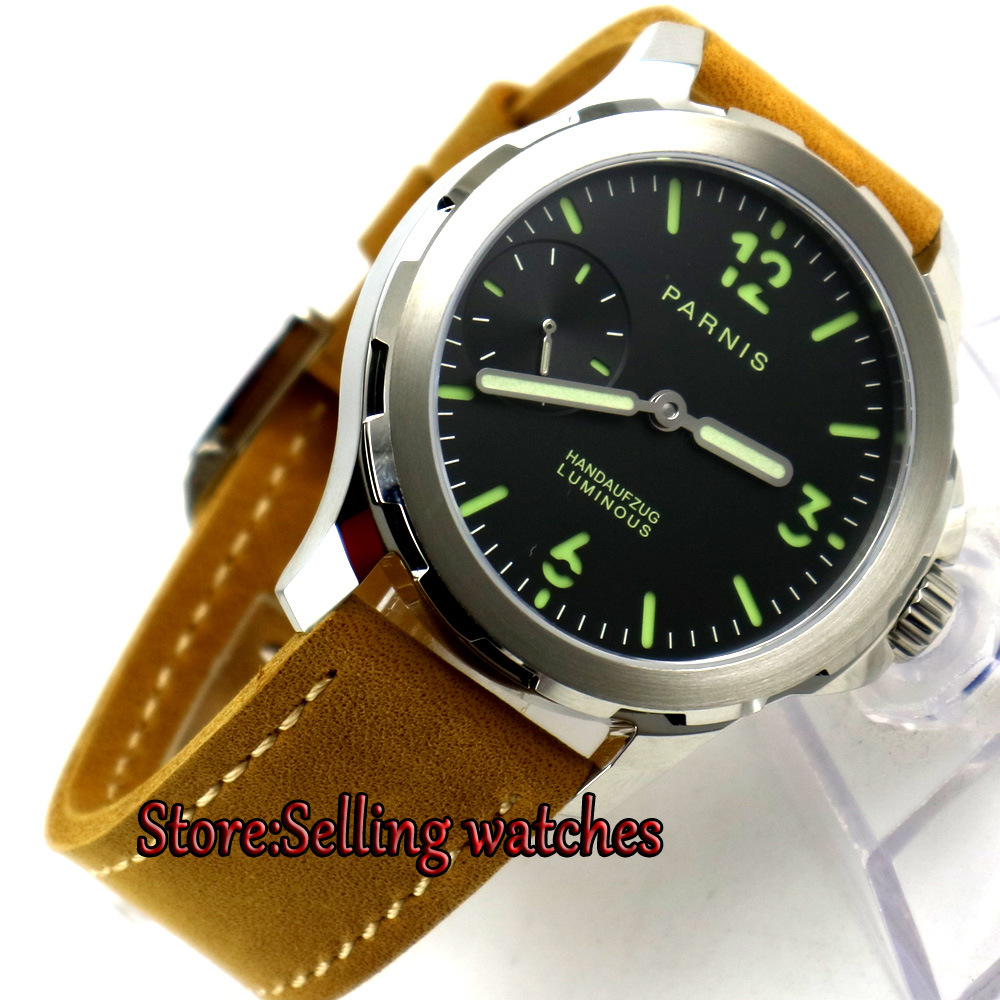 44mm parnis black dial luminous mark Sapphire glass 6497 hand Winding mens watch
