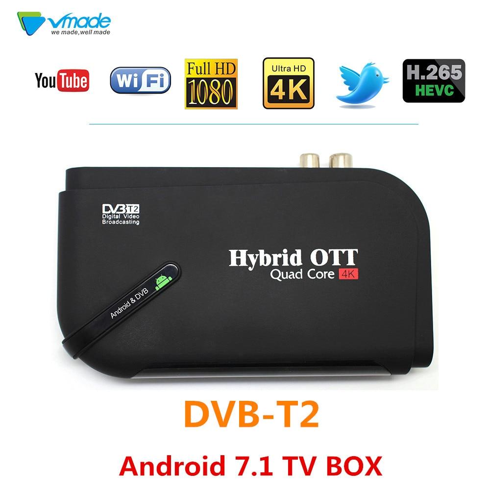 Hot Android 7.1 DVB T2 android tv box Quad Core DVB-T2 HD H.265/MPEG4 dvb-t2 tv tuner 4K Smart KII Set-top Box Media Player brand new mini streambox m3c dvb c cable main chip hi3716mv330 linux system hd channels set top box for singpore media player