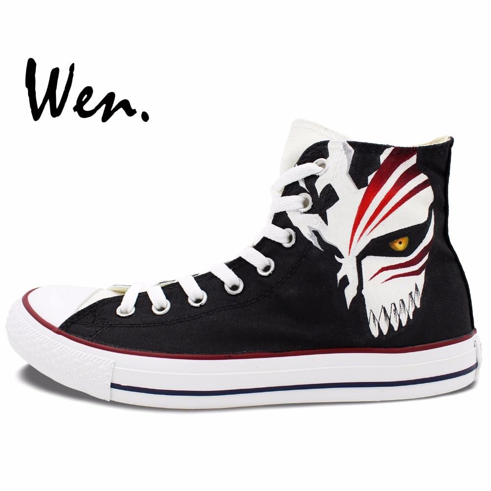 cf119e55908d Wen pintado a mano zapatos de diseño personalizado Anime Bleach blanco  negro High Top hombres zapatillas de lona de las mujeres para los regalos  de ...