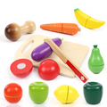 Wooden Kitchen Food Fruit Vegetable Cutting Kids Pretend Play Educational Toy Cook Cosplay Safety