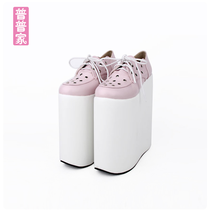 Princess sweet lolita shoes Spring and autumn COS anime shoes cosplay laces punk thick muffin shoes super high heel pu7030 2018 spring sweet bow elegant lolita cosplay shoes chunky high heel pumps princess party shoes
