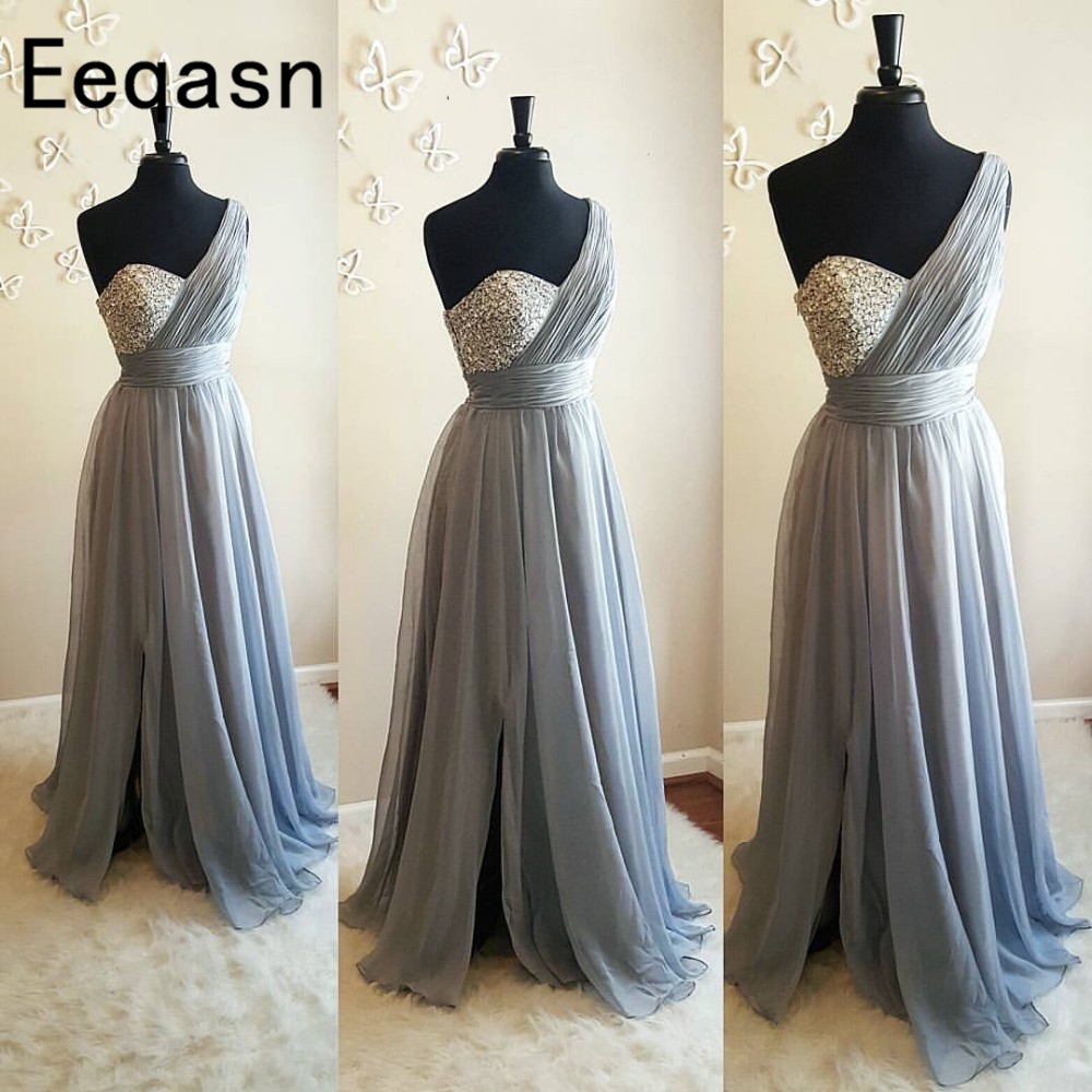 Us 92 16 36 Off Silver Gray One Shoulder Bridesmaid Dresses Crystal Pleated Chiffon Floor Length Flowy Purple Wedding Guest In