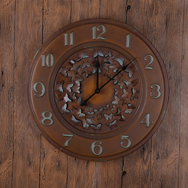 Large size wall clock European retro antique style clock 3D circular corridor bedroom living room wall clock home decoration