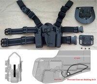 Para Beretta M9 92 92F Tactical Airsoft Pierna de La Gota Right handed holster Set W/Panel de Cinturón Linterna Mag Pouch Negro paleta