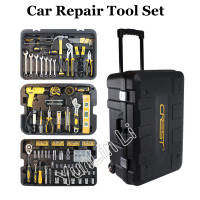 255pcs/SET Repair Tool Set with Wheels Vehicle Tool Box Wrench Socket Ratchet Screwdriver Knife Hand Tool Set 105255