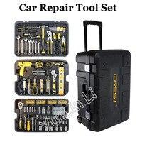 255pcs/SET Repair Tool Set with Wheels Vehicle Tool Box Wrench Socket Ratchet Screwdriver Knife Hand Tool Set 105255