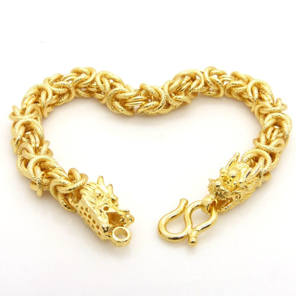 Gold Wrist Bracelet: Mens Bracelet Dragon Head Patterned Solid Gold Filled