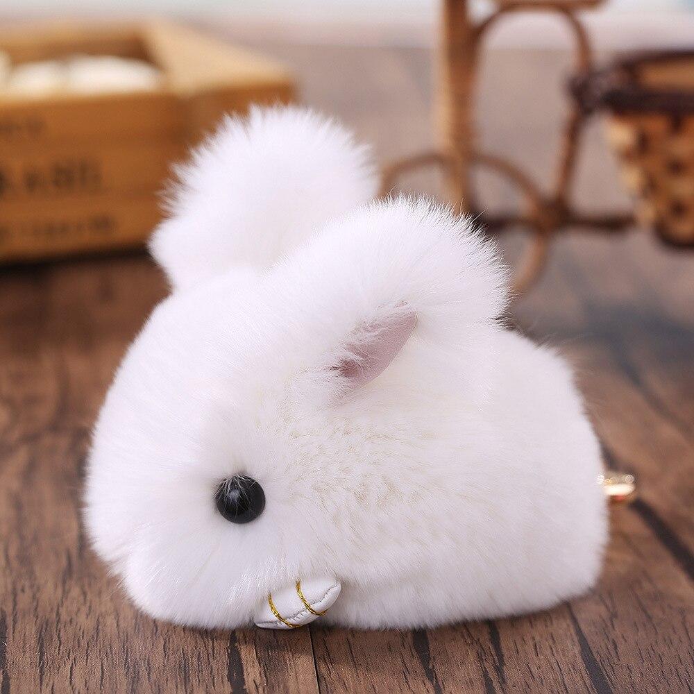 Cute Genuine Rex Rabbit Furs Keychain Pendant Bag Car Charm Tag Fluffy Bunny Rabbit Keychain Toy Doll Fur Monster Keychains