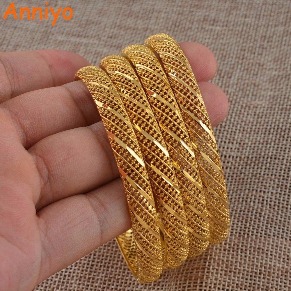 Anniyo 4 Pieces/Lot Ethiopian Gold Color Bangle for Women Dubai Bride Wedding Bracelet African Arab Jewelry Middle East #086006