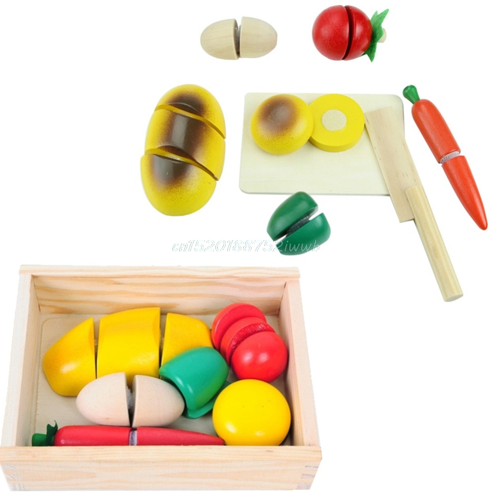 ⊹New Wooden Fruit Vegetable Food Kids Role Play Children Kitchen ...