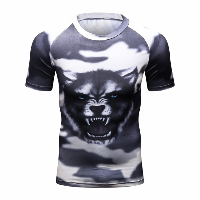 3D Print Wolf Mens Compression Shirts Bodybuilding Skin Tight Short sleeves Clothings Exercise Workout Fitness Sportswear
