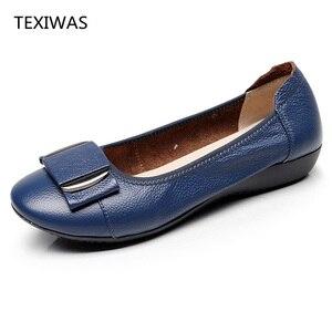 Image 3 - Texibeen النساء أحذية امرأة جلد طبيعي حذاء مسطح عمل غير رسمي المتسكعون الباليه الشقق جديد موضة النساء الشقق حجم كبير 34 43