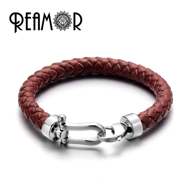 Reamor Retro Red Genuine Braided Leather Men Bracelets Bangles With 316l Stainless Steel Lobster Clasp