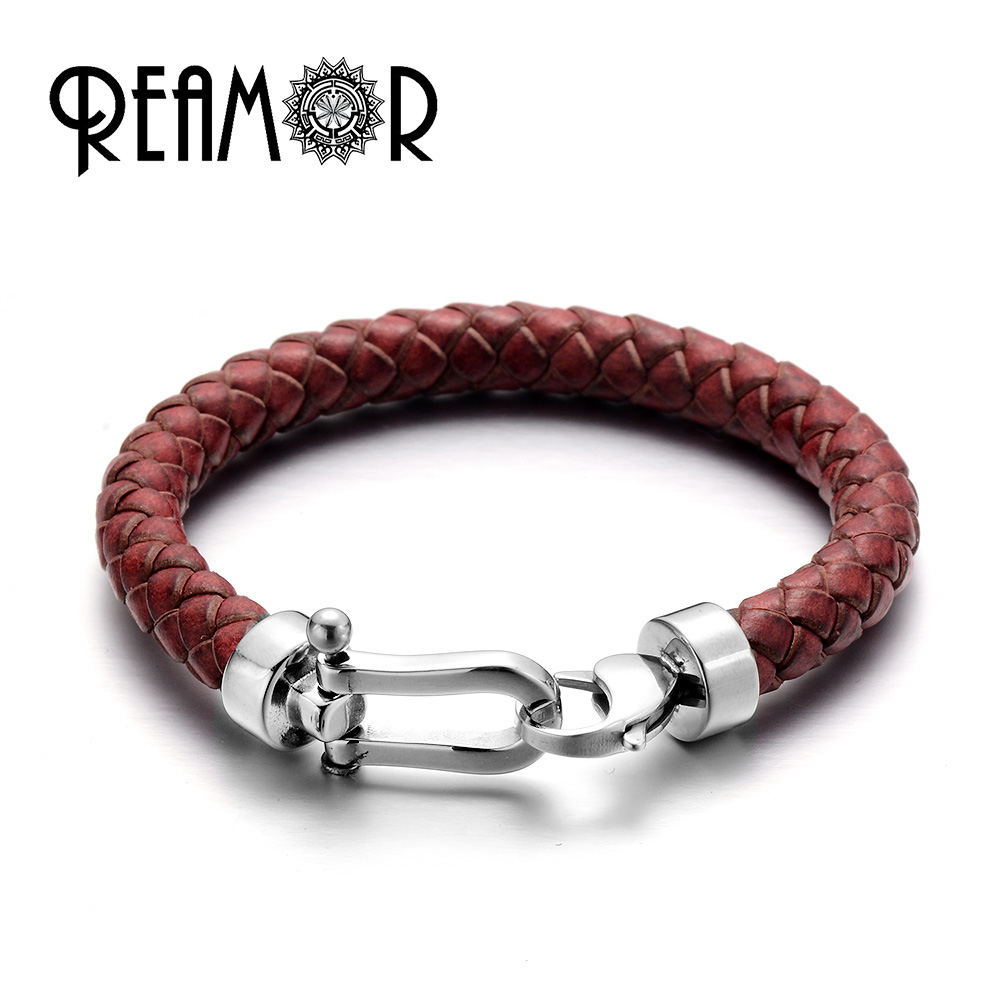 REAMOR Retro Red Genuine Braided Leather Men Bracelets Bangles With 316l Stainless Steel Lobster Clasp Fashion