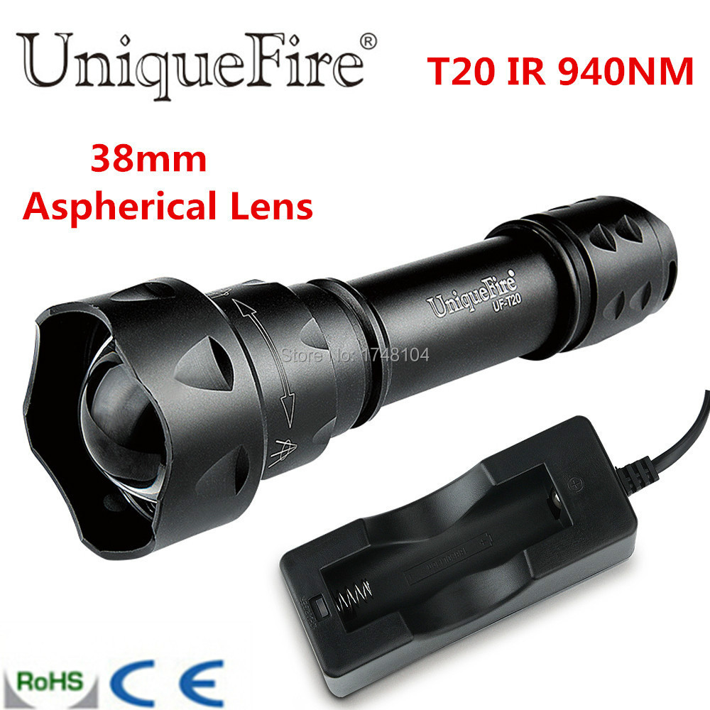 Free Shipping Mini 3 Mode T20 IR Balck 940NM LED Zoomable Flashlight Torche Zoomable 38mm Convex Lens Torch
