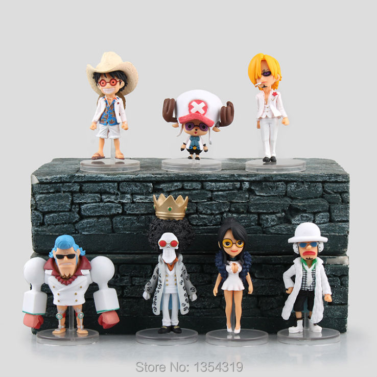 Anime one piece 7pcs/set pvc action figure Luffy sanji Chopper Usopp Nico Robin FRANKY action figure model toys collection gift anime one piece 6pcs set gear fourth luffy zoro franky sanji doflamingo pvc action figure collectible model toy 7cm 8 5cm kt2384