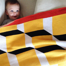 105*80CM Geometric Design Baby Kids Blanket Cotton One Side Cube Checked Knitted Blanket for Newborn Babe Play Mat Warm Swaddle